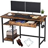 Rolanstar Computer Desk with Shelves and Drawer, 47' Home Office Writing Desk, Laptop Study Table Workstation, Retro Industrial Design, Stable Metal Frame, Rustic Brown