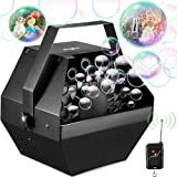 Theefun Bubble Machine, Wireless Remote Control Bubble Blower Machine with Over 800+ Bubbles Per Minute, Plug-in Kids Bubble Machine for Parties Wedding Birthday-Indoor & Outdoor Use with AC Adapter
