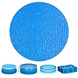 durony 10 Feet Blue Solar Pool Covers Round Solar Cover Inflatable Swimming Pool Cloths Solar Cover for In-Ground and Above-Ground Round Swimming Pools