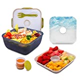 Sebnux 74 Oz Salad Container Lunch to Go with Build-In Ice Pack to Keep Food Fresh Salad Bowl with Dressing Cup and 4 Compartments Tray for Salad Toppings and Snacks