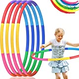 4 Pack Exercise Hoops Kids, Detachable Adjustable Size Kids Toy Hoop, Suitable for Lose Weight, Gymnastics, Dance, Games and Pet Training, Boys and Girls