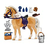 Palomino Horse with Moveable Head, Realistic Sound and 14 Grooming Accessories - Blue Ribbon Champions Deluxe Toy Horses
