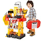 ToyChoi's Pretend Play Series Transformable Workbench Toy Tool Play Set, 83Pieces Construction Work Shop Toy Tool Kit Bench Outdoor Preschool Toy Gift for Kids Toddler Baby Children Boys and Girls