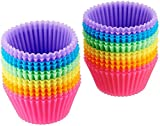 Amazon Basics Reusable Silicone Baking Cups, Muffin Liners - Pack of 24, Multicolor