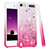 iPod Touch 7th 6th 5th Generation Case, iPod Touch 7 6 5 Case, Ruky [Gradient Quicksand Series] Glitter Flowing Liquid Floating Flexible TPU Girls Case for iPod Touch 7 6 5 (Gradient Pink)