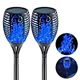 EOYIZW Solar Torch Light with Flickering Flame Outdoor Decor, 43' 2 Pack Premium 99 LEDs Flickering Solar Flame Torch- IP65 Waterproof LED Solar Tiki Torches Flame Lamp for Yard Patio Garden