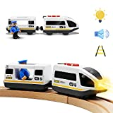 Battery Operated Action Locomotive Train (Magnetic Connection)- Powerful Engine Bullet Train Compatible with Thomas, Brio, Chuggington Wooden Train and Tracks- Toys Car for Toddlers