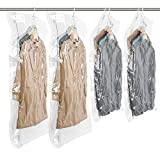TAILI Hanging Vacuum Space Saver Bags for Clothes, Set of 4 (2 Long 53'x27.6', 2 Short 41.3'x27.6'),Vacuum Seal Storage Bag Clear Bags for Suits, Dress or Jackets, Closet Organizer