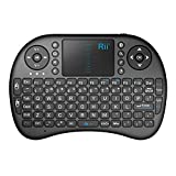 Rii i8 Mini Bluetooth Keyboard with Touchpad&QWERTY Keyboard, Portable Wireless Keyboard with Remote Control for Smartphones /laptop/PC/Tablets/ Windows/Mac/ TV/Xbox/PS3/Raspberry Pi .Black