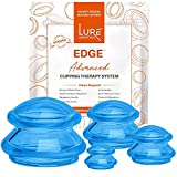 Lure Essentials Edge Cupping Set for Home Use and Massage Therapists, Silicone Cupping Sets for Cellulite Reduction and Cupping Therapy (Set of 4, Blue)