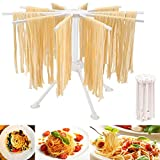 HOUPDA Pasta Drying Rack Collapsible, Noodle Stand With 10 Bar Handles Spaghetti Dryer Stand,Household Noodle Dryer Rack Hanging for Home Use (White)