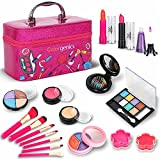 Colorgenics Washable Makeup Toy Set for Girls - Real Make Up Kit for Kids, Princess Play Makeup Set for 5 6 7 8 9 10 Years Old, Beauty Gift Set for Birthday Christmas with Reusable Cosmetic Case