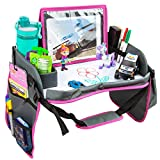Kids Travel Tray with Dry Erase Board, Car Seat Lap for Food & Play Activity, Carseat Table Trays for Toddler, Kid Activity Desk for Air Travel, No-Drop Tablet Holder & Borders (Grey with Pink Frame)