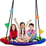 Sorbus Saucer Tree Swing 40 Inch in Multi-Color Rainbow – Kids Indoor/Outdoor Round Mat Swing – Great for Tree, Swing Set, Backyard, Playground, Playroom – Accessories Included (Round )