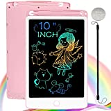 ScriMemo LCD Writing Tablet, 10 Inch Drawing Tablet Kids Doodle Board, Colorful Toddler Drawing Board Electronic Drawing Pads, Educational and Learning Toy for 3-8 Years Old Boy and Girls (Pink)