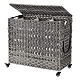 SONGMICS Handwoven Laundry Hamper, Rattan-Style Laundry Basket with 3 Removable Bags, Handles, Laundry Sorter with Lid, for Living Room, Bathroom, Laundry Room, Gray ULCB083G02