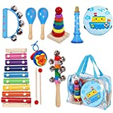 MAXZONE Toddler Kids Musical Instruments Sets, 12pcs Wooden Percussion Instruments Toys Tambourine Xylophone for Kids Playing Preschool Education, Early Learning Musical Toys for Boys and Girls Gift
