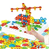 236 Pieces Trendy Bits Creative Mosaic Drill Set, STEM Toys for Kids Ages 3+,Screw Toys Educational and Leaning Building Blocks Activities Design for Boys and Girls Gift