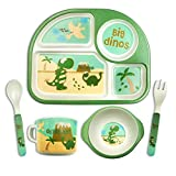 Toddler Dishes Dinnerware Sets - Dinosaur Kids Plates Bowl Sets Plate for Weaning Babies Bamboo Toddler Dishes Baby Toddler Self-Feeding Plate