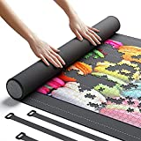 """Newverest Jigsaw Puzzle Mat Roll Up, Saver Pad 46"""" x 26"""" Portable Up to 1500 pieces with Non-Slip Rubber Bottom and Smooth Polyester Top + Storage Bag, Foam Rolling Tube, 3 Hook & Loop Fastener Straps"""