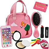 Little Girls Purse, Click N' Play Pretend Play Purse Set, Handbag with 8 Pieces including Makeup, Smartphone, Wallet, Keys, Credit Card, Toy Purse for Toddler Girls Ages 2+
