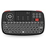 (Upgrade) Rii i4 Mini Bluetooth Keyboard with Touchpad, Blacklit Portable Wireless Keyboard with 2.4G USB Dongle for Smartphones, PC, Tablet, Laptop TV Box iOS Android Windows Mac.Black