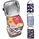 HOKEMP Insulated Breast Milk Cooler Baby Bottle Bag with Adjustable Strap on Stroller Fits 4 Bottles, Up to 8 Ounce Lunch Box Tote Storage Bag (Colored Triangle, Ice Pack not Included)