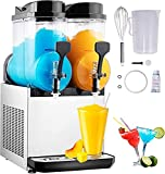 TECSPACE 30L 2 Tank 110V Commercial Slushy Machine 1050W, Stainless Steel Margarita Smoothie Frozen Drink Maker for Cocktail Ice Juice Tea Coffee Making