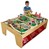 KidKraft Waterfall Mountain Wooden Train Set & Table with 120 Pieces, 3 Storage Bins, Gift for Ages 3+
