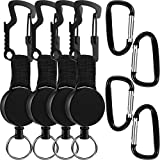 8 Pieces Retractable Keychain Retractable Badge Holder Reel with Multitool Badge Clip, Steel Wire Cord, Key Ring and Self-retracting Keychain