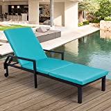 AECOJOY Chaise Lounge Chairs for Outside Outdoor Lounge Chair, Adjustable PE Rattan Wicker Patio Pool Lounge Chair with Cushion and Wheels for Poolside Backyard Deck Porch Garden, Black