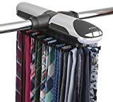 StorageMaid Motorized Rack Organizer for Closet with LED Lights-Battery Operated Holds 72 Ties and 8 Belts - Includes J Hooks for Wire Shelving - Bonus Tie Travel Pouch & Tie Clip, Black