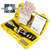 IBOSAD 10 Tons Hydraulic Wire Battery Cable Lug Terminal Crimper Crimping Tool 12 AWG to 00 (2/0) Electrical Terminal Wire Crimping Plier Kit,Marked with AWG