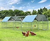 Large Metal Chicken Coop Run Duck House Outdoor Walk-in Poultry Cage Rabbits Habitat Cage Flat Shaped with Waterproof Cover for Backyard Farm Use 9.2'L x 24.9'W x 6.4'H