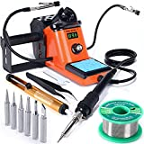 YIHUA 926 III 60W LED Display Soldering Iron Station Kit w 2 Helping Hands, 6 Extra Iron Tips, 50g Lead-Free Solder, Solder Sucker, S/S Tweezers, °C/ºF Conversion, Auto Sleep & Calibration Support