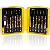 THINKWORK Combination Drill Tap & Tap Bit Set, 3-in-1 Titanium Coated Screw Tapping Bit Tool for Drilling, Tapping, Countersinking, with Quick-Change Adapter, 13 PCS SAE/Metric