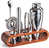 Mixology Bartender Kit: 10-Piece Bar Set Cocktail Shaker Set with Stylish Mahogany Stand | Perfect Home Bartending Kit with Bar Tools and Martini Shaker for Foolproof Drink Mixing (Silver)