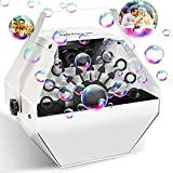 Professional Bubble Machine 4500+ Bubbles with Quiet Motor, Automatic Durable Metal Bubble Blower for Christmas, Parties, Wedding, Disco, Stages , White Bubble Maker for Indoor Outdoor Party