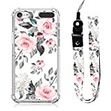 iPod Touch 5 6 7 Case Rose Floral Design with Neck Strap Lanyard for Women Girls Protective Clear Transparent Bumper Case Cute Grey Pink Flower for iPod Touch 7th/ 6th/ 5th Gen MP3 Player Case Cover