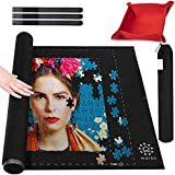 Marbs Puzzle Mat Roll Up with Guiding Lines for 500,1000,1500 Pieces. Roll Your Jigsaw Puzzle in 30sec - Portable Storage Mat 24'x46' with 2 Foam Poles, 3 Fastening Straps, Sorting Tray & Storage Bag