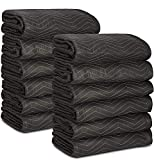 12 Moving Packing Blankets - 80 x 72 Inches (65 lb/dz) Heavy Duty Moving Pads for Protecting Furniture Professional Quilted Shipping Furniture Pads Black