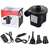 2in1 Portable Electric Air Pump with 3 Nozzles, Car /Home Dual Use Inflatable Compressor for Air Mattress Mattress Raft Bed Boat, Outdoor Inflatable Pool Toys, Swimming Ring