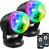 [2-Pack] Portable Sound Activated Party Lights for Outdoor Indoor, Battery Powered/USB Plug in, Dj Lighting, Disco Ball Light, Strobe Lamp Stage Par Light for Car Room Party Decorations Dance Parties