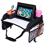 ROVICLU Car Seat Travel Tray for Kids - Carseat Trays Accessories, Toddler Activity Table, Lap Desk with Organizer, Road Trip Essentials - Shoulder Strap Pad, Erasable Board, Smartphone/Table Stand.