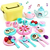 CUTE STONE Toy Tea Set, Kids Pretend Play Tea Time with Play Food, Kettle with Light & Sound, Teapot, Tea Cups Dishes, Carrying Case and Tea Party Accessories Tea Party Set for Toddlers