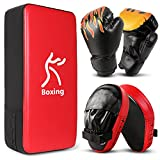 Odoland 3-in-1 Boxing Gloves Punching Mitts Kick Pack Set for Kids, Boxing Mitts Focus Pads, Taekwondo Kick Pad, Kids Boxing Gloves for Boxing, Kickboxing, Karate, Muay Thai, MMA Training
