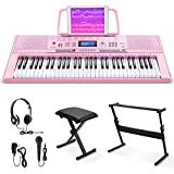 Eastar Electric Piano, 61 Keys Piano Keyboard for Beginners, Digital Piano with Luxury Package, Includes Stand, Bench, Music Stand, Headset, Microphone and Musical Note Stickers, Pink