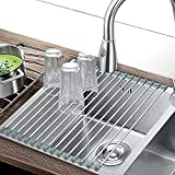 Roll-up Dish Drying Rack Over Sink (17.8' x 11.8') 304 Stainless Steel Foldable Sink Dish Drainer Racks for Kitchen Sink Counter