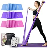 Therapy Flat Resistance Bands Set, Latex Free Flat Elastic Exercise Stretch Bands for Stretching, Flexibility, Pilates, Yoga, Ballet, Gymnastics, Rehab, Workout, Pink, Purple, Blue (3 Pack, 5 FT long)