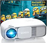 Bluetooth Projector Support 4K UHD, WiMiUS S4 Native 1080P Projector with Zoom & Keystone & Dual 5W Speaker, 300' Home & Outdoor Video Movie Projector for Fire Stick, iPhone, Android, Laptop, PS5
